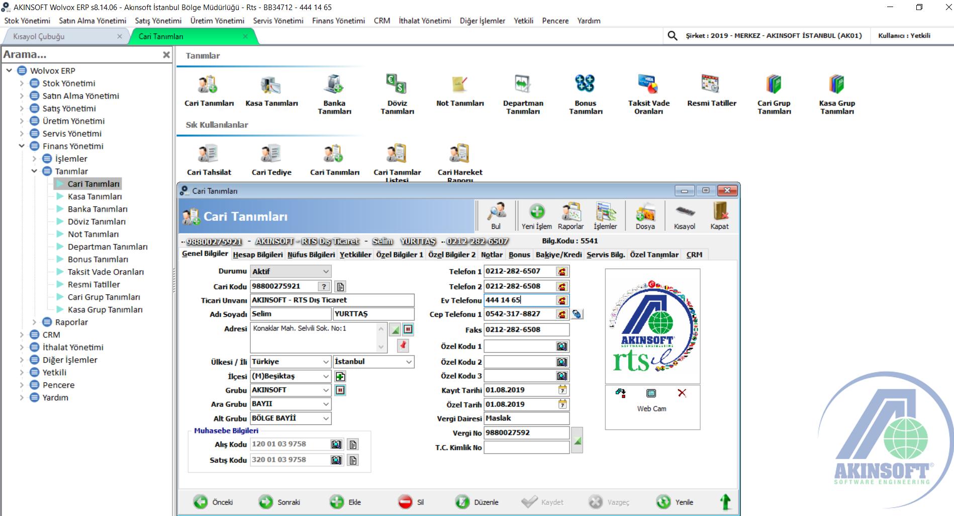 RTS Bilgisayar Akınsoft Wolvox ERP